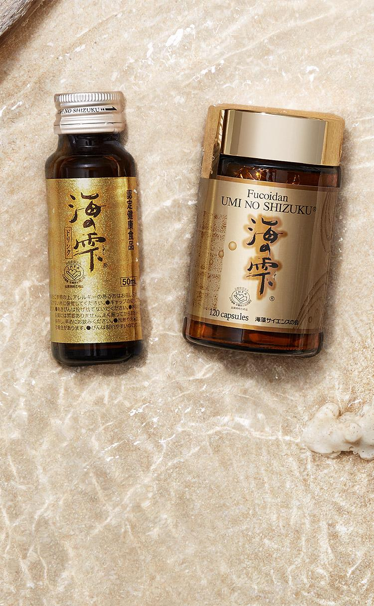 "Fucoidan & Agaricus Supplements ""UminoShizuku""  Drink Type product image and capsule type"
